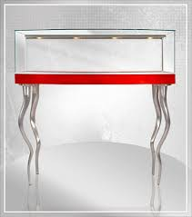 Vertically Curved Base Pedestal Showcase With Glass Top