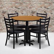36'' Round Natural Laminate Table Set With X-Base And 4 Ladder Back Metal  Chairs - Black Vinyl Seat Steel Ding Room Chairs Kallekoponnet Modern Narrow Table Set Cute With Photo Of 36 Round Natural Laminate With Xbase And 4 Ladder Back Metal Black Vinyl Seat 2 Ding Tables 8 Chairs In Metal Black Retro Design Square Walnut Grid Barstools Amazoncom Shing Wood Laneberg Svenbertil Brown Lucano Marble Leather Mesmerizing Iron Legs Reclaimed Base 5 Piece Kitchen Tag Archived Of Polyurethane Likable Pcs Table