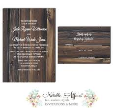 Rustic Country Barn Wood Vintage Bare Tree Wedding Invitation RSVP Card Set
