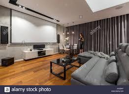 frau im wohnzimmer mit leinwand grau sofa und schwarz
