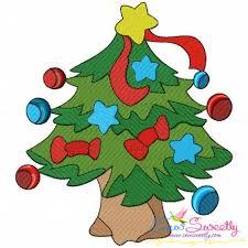 Christmas Tree Stars Embroidery Design