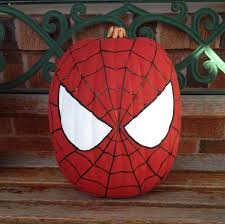 Spiderman Pumpkin Carving Templates Free by My Spider Man Painted Pumpkin Spiderman Pumpkin Halloween