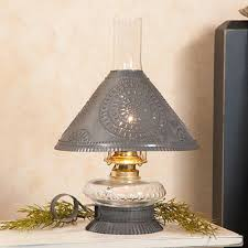 Large Punched Tin Lamp Shades by Glass Oil Lamp With Rustic Punched Tin Shade Handcrafted Electric