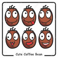 Vector Cartoon Cute Happy Coffee Beans Character Royalty Free