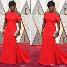 2017 oscar celebrity evening gowns plus size halter satin off