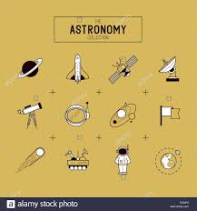 Astronomy Gold Vector Icon Set A collection of space themed line