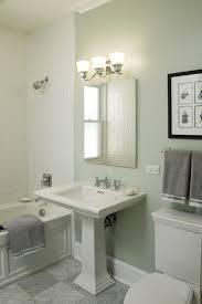 Pedestal Sink Mirror Ideas Bathroom Traditional With Wall Decor Wood Trim Subway Tiles