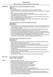 Manufacturing Engineering Manager Resume