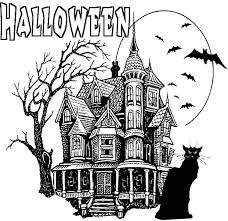 Black Cursed Cat Haunted House Coloring Pages