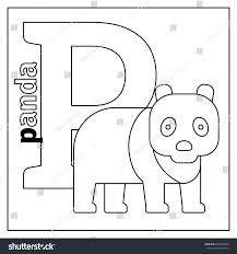 Coloring Page Card Kids English Animals Stock Illustration