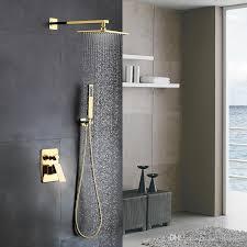 großhandel goldenes badezimmer aus massivem messing luxus quadratisches regenduschmischerset wandmontiertes regenduschkopfsystem poliertes goldfinish