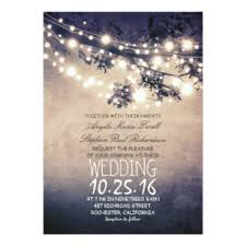 Rustic Tree Branches Amp String Lights Wedding Card