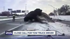 100 Truck Wrecks Videos Detroit Tow Driver Dodges Death When Car Crashes Lands On Top Of