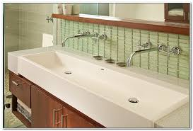 Double Faucet Trough Sink Vanity by Double Faucet Trough Sink Vanity Sinks And Faucets Home Design