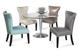 Awesome Assorted Color Upholstered Dining Chair With Round Glass Table Plus Stainless Steel Legs