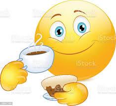 emoticon trinkt kaffee und kuchen stock vektor und mehr bilder comic kunstwerk