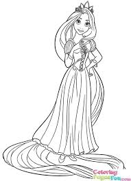 Princess Rapunzel Coloring Pages Tangled Page Disney And Flynn