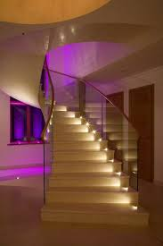 decorations charming led staircase lighting with glass fence and