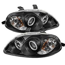 spyder auto honda civic 96 98 projector headlights ccfl halo