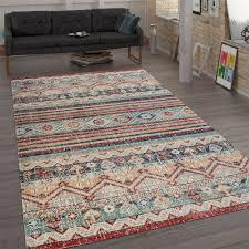 trendiger flachgewebe teppich vintage mehrfarbig