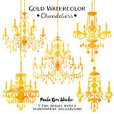Gold Chandelier Watercolor Clipart Silhouettes