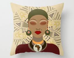 African Pillow Queen Decor Afrocentric Decorative Throw Home