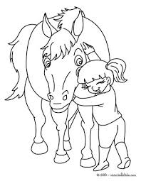Horse Riding School Girl Hugging Her Coloring Page
