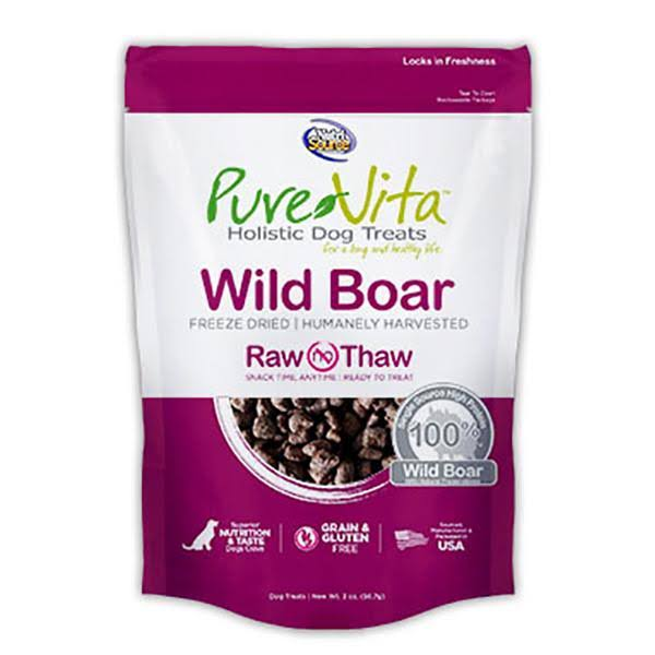 PureVita Freeze Dried 100% Wild Boar Dog Treats 2 oz