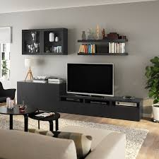 bestå lack tv möbel kombination schwarzbraun ikea