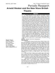 Kitchen Sink Drama Pdf by Arnold Wesker And The New Wave British Theatre Feminism