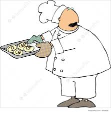 Cartoon chef Illustration of a chef with a tray of cinnamon rolls