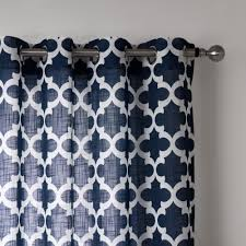 Geometric Pattern Window Curtains by Blue Modern Style Bedroom Curtains Printed Geometric Curtains For