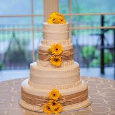 Burlap And Sunflower Decorated Buttercream Cake