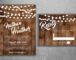 Country Wedding Invitations Set Printed Rustic Invitation Burlap Kraft Wood