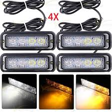 100 Strobe Light For Trucks 4 WhiteAmber 4LED Flash Emergency Hazard Warning Bar