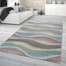 wohnzimmer teppich bunt pastellfarben retro design mosaik