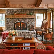 Rustic Living Room With Stacked Stone Fireplace Hgtv Large Version Designs