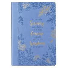 God Grant Me The Serenity Journal Lux Leather Blue