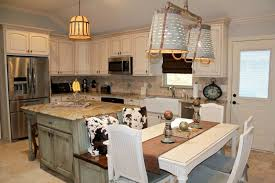 Mint Green Rustic Kitchen Island Design With White Chairs For Traditional Ideas