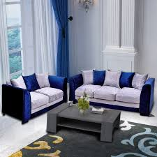 100 2 Sofa Living Room Panana Crushed Velvet Fabric Set 3 Seater Seater Blue Silver Home Room Furnitures With Pillows Fast Delivery