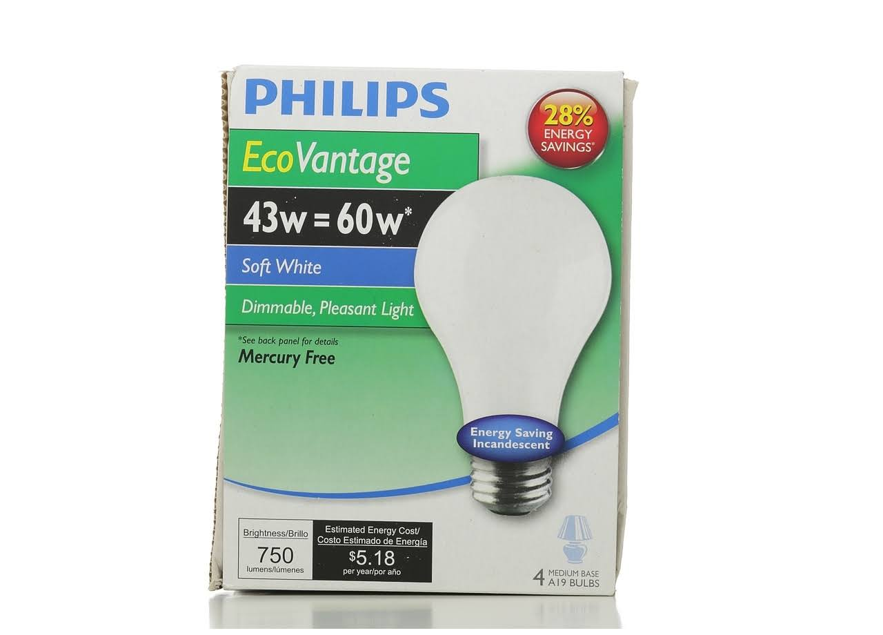 Philips EcoVantage Soft White Light Bulb - 43 Watt = 60 Watt