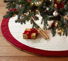 Tree Skirt Sale Pottery Barn Velvet Ivory With Red Cuff Holiday Decorating