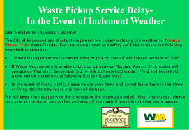 Waste Management Christmas Tree Pickup Schedule by City Of Edgewood Waste Management Trash Pick Up May Be Affected