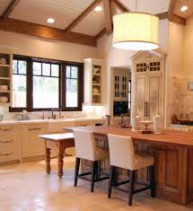 Momentous Contemporary French Country Kitchens With Brazilian Cherry Kitchen Island Dining Table And Copper Single Hole