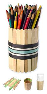 Fathers Day Pencil Holder Made From Popsicle Sticks