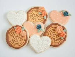 Wedding Cookie Favours Decorated Sugar Cookies Peach Polka Dot White Lace And Wood