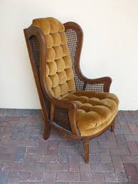 Vintage High Back Cane Side Wing Arm Chair With Wood Frame ...