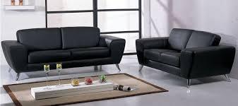 canapé cuir noir salon 3 2 1 places denice en cuir régénéré