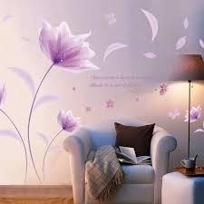neue design kreative diy romantische fantastische lila blumen dekoration wandaufkleber wohnzimmer wandtattoos schlafzimmer tapete