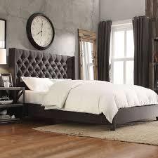 INSPIRE Q Naples Dark Gray Linen Wingback Button Tufted